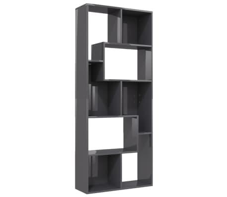 vidaXL Boekenkast 67x24x161 cm spaanplaat hoogglans grijs