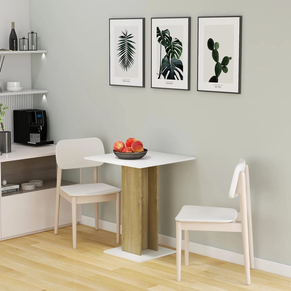 vidaXL Masă de bistro, alb/stejar Sonoma, 60 x 60 x 75 cm, PAL vidaxl.ro