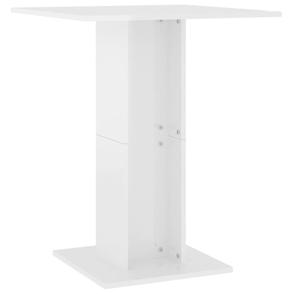 vidaXL Τραπέζι Μπιστρό Γυαλιστερό Λευκό 60 x 60 x 75 εκ. Μοριοσανίδα