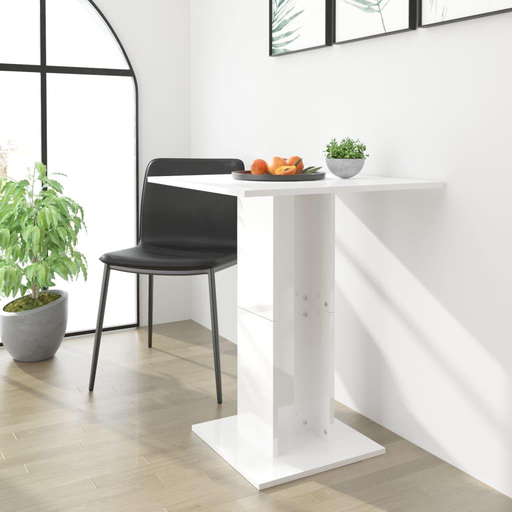 vidaXL Bistro stolek bílý s vysokým leskem 60 x 60 x 75 cm dřevotříska