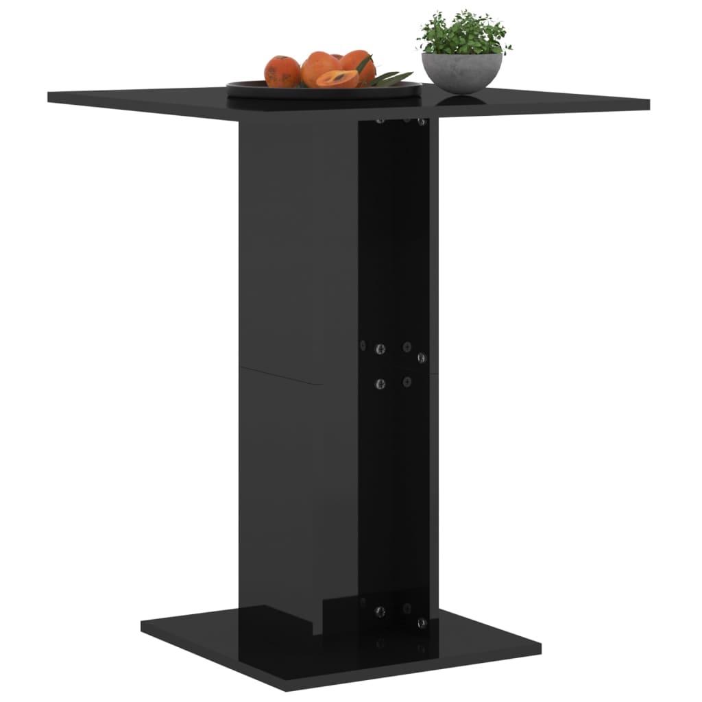 vidaXL Bistrotafel 60x60x75 cm spaanplaat hoogglans zwart