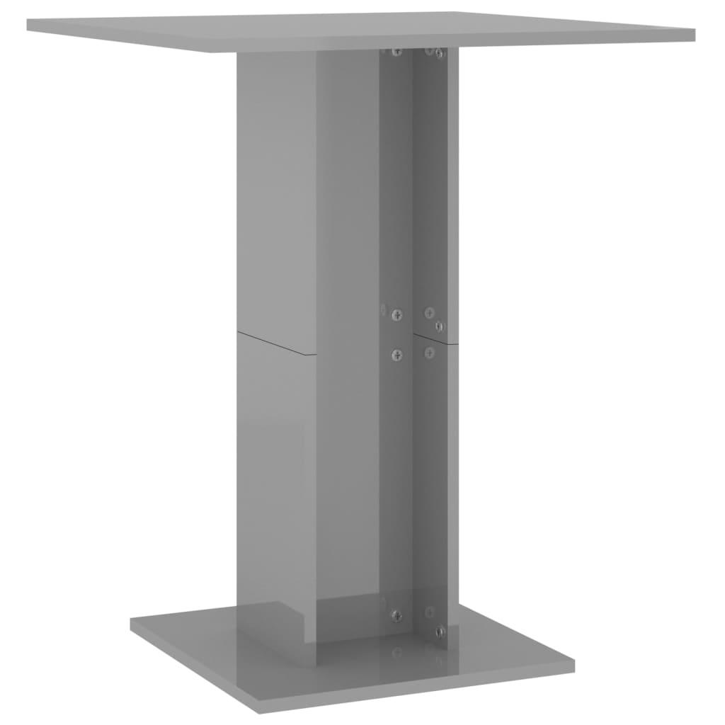 vidaXL Τραπέζι Μπιστρό Γυαλιστερό Γκρι 60 x 60 x 75 εκ. Μοριοσανίδα