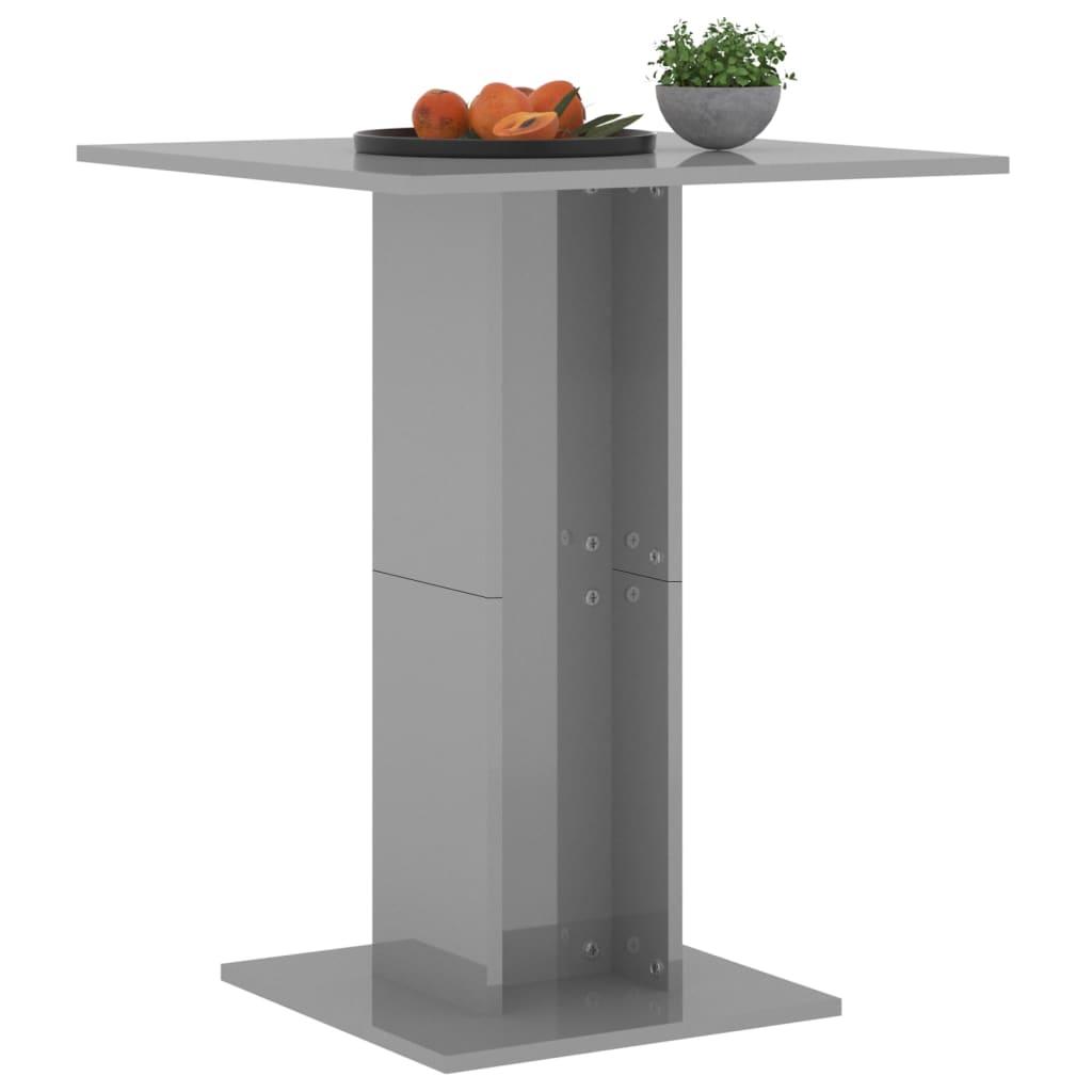 vidaXL Bistrotafel 60x60x75 cm spaanplaat hoogglans grijs