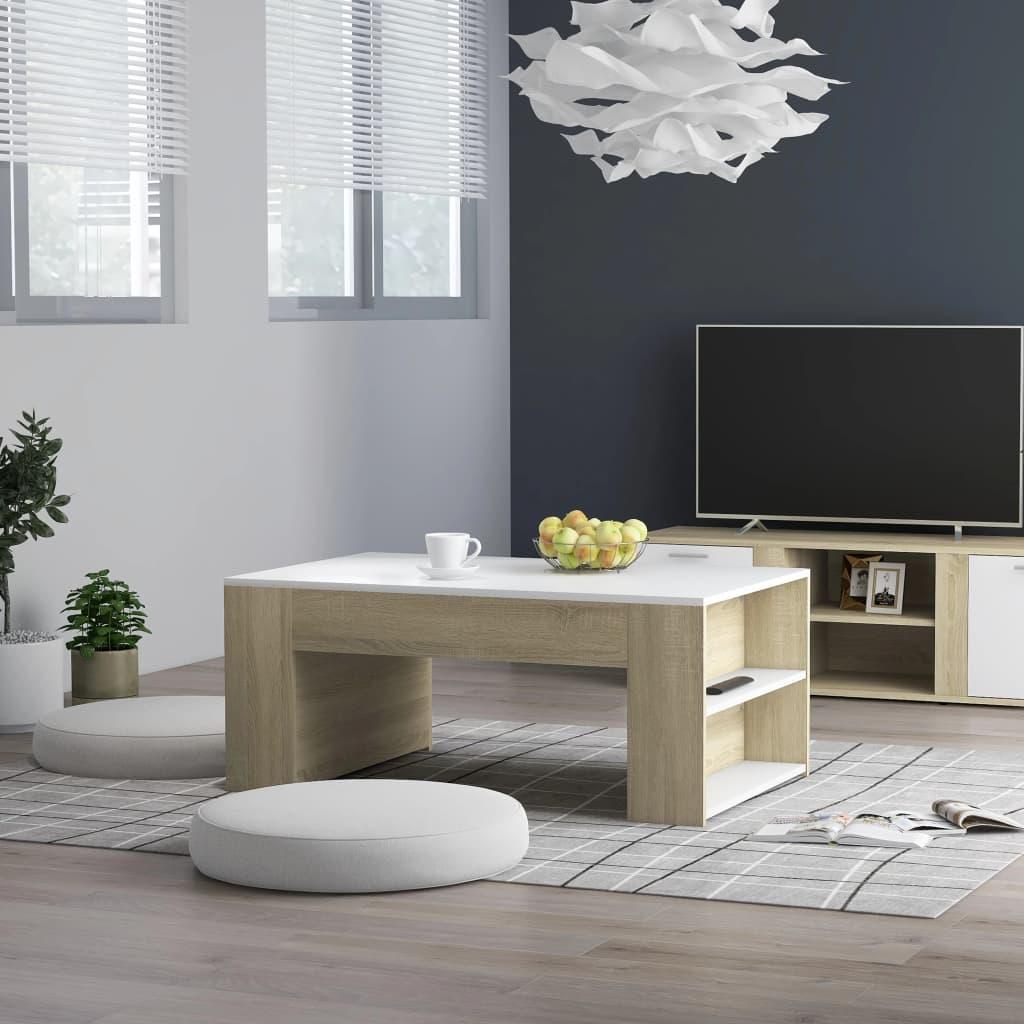 vidaXL Konferenční stolek bílý a dub sonoma 100x60x42 cm dřevotříska