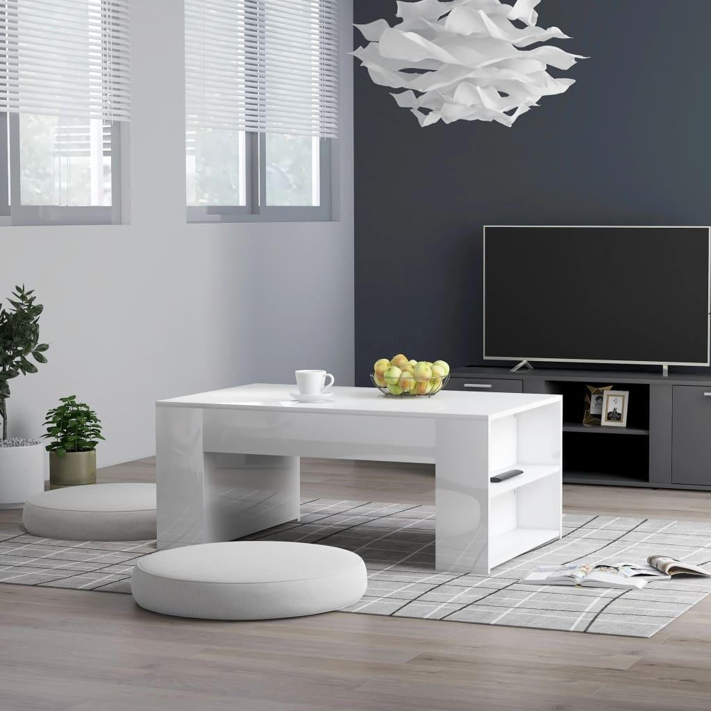 vidaXL Konferenční stolek bílý vysoký lesk 100x60x42 cm dřevotříska
