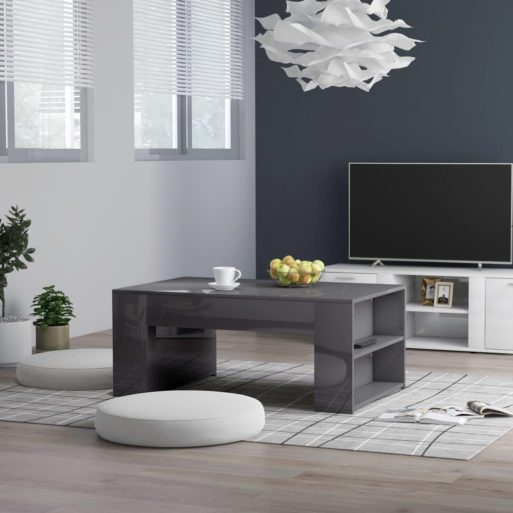vidaXL Konferenční stolek šedý vysoký lesk 100x60x42 cm dřevotříska