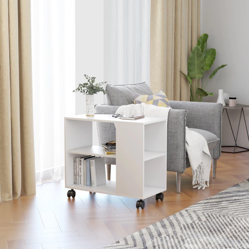 Odkládací stolek bílý 70 x 35 x 55 cm dřevotříska