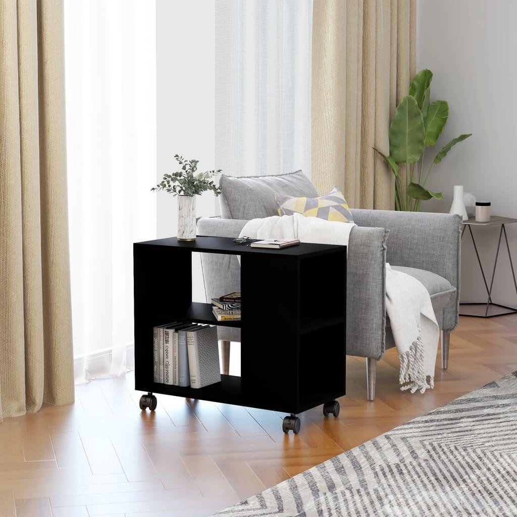 Odkládací stolek černý 70 x 35 x 55 cm dřevotříska