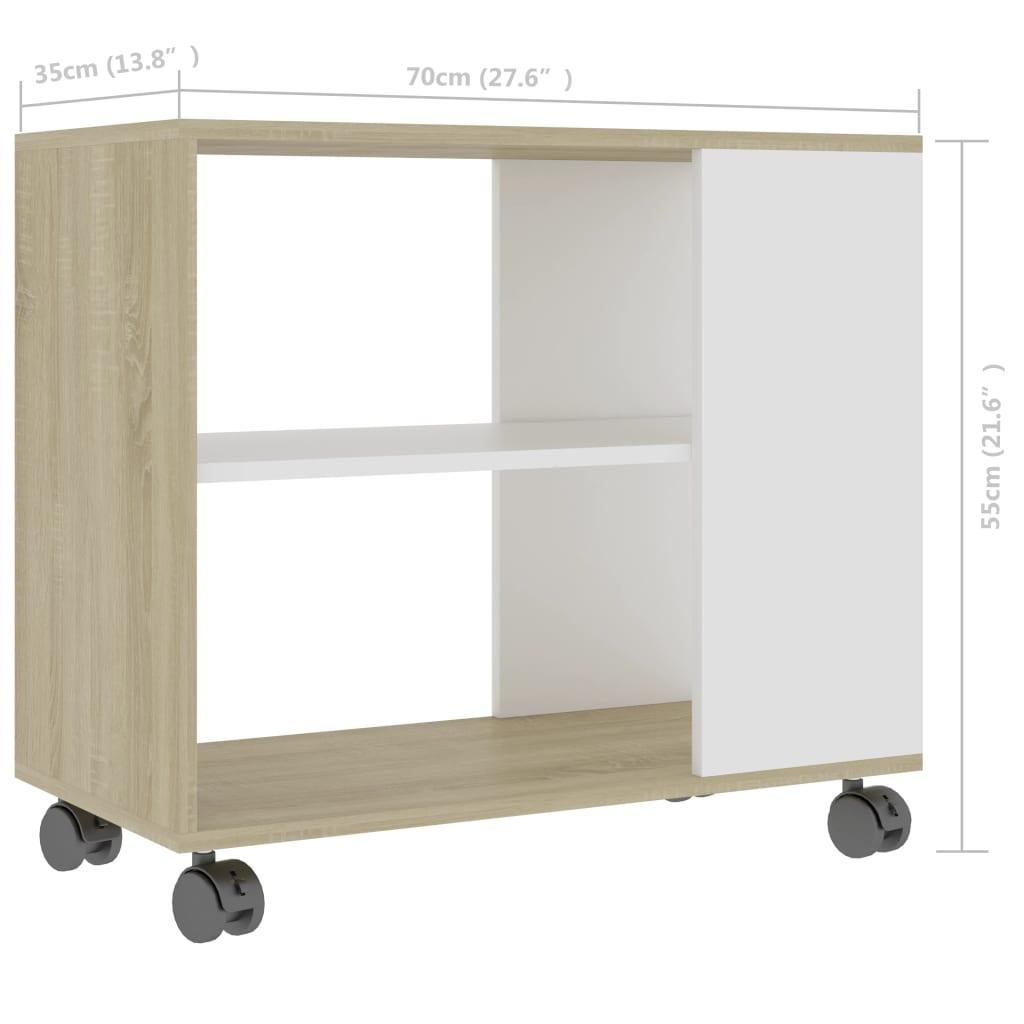 vidaXL Bočni stolić bijeli i boja hrasta sonome 70x35x55 cm od iverice