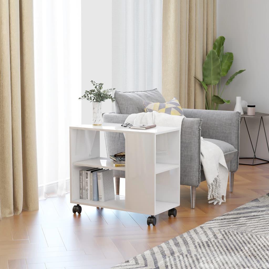 vidaXL Odkládací stolek bílý s vysokým leskem 70x35x55 cm dřevotříska