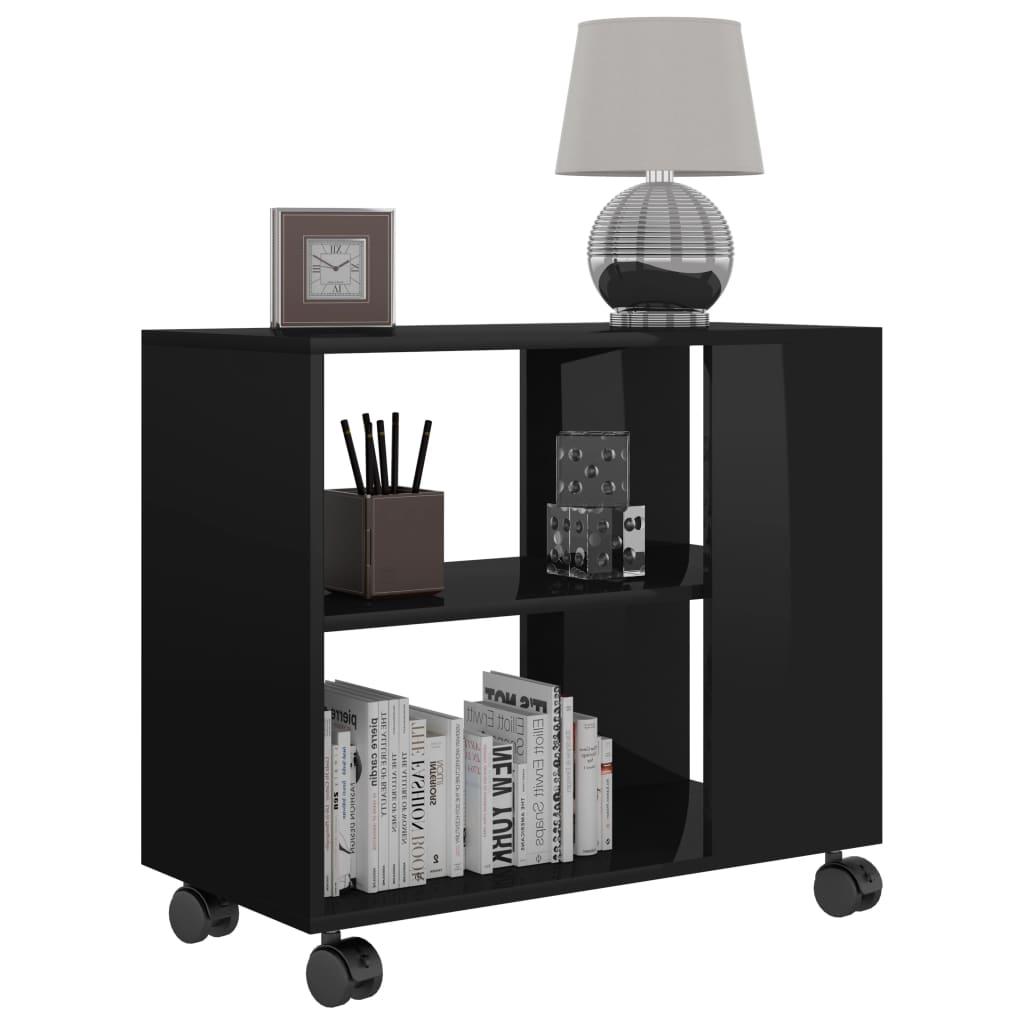 vidaXL Bočni stolić visoki sjaj crni 70 x 35 x 55 cm od iverice