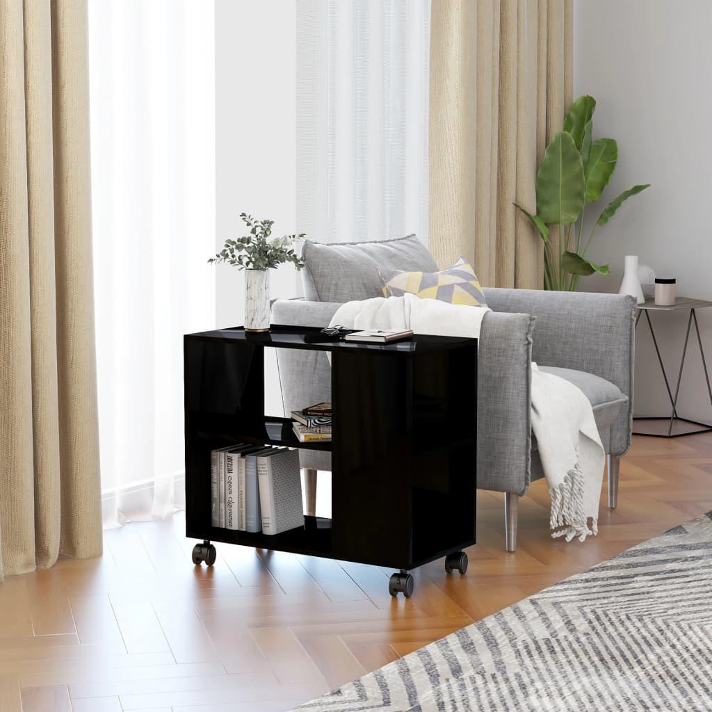 Odkládací stolek černý s vysokým leskem 70x35x55 cm dřevotříska