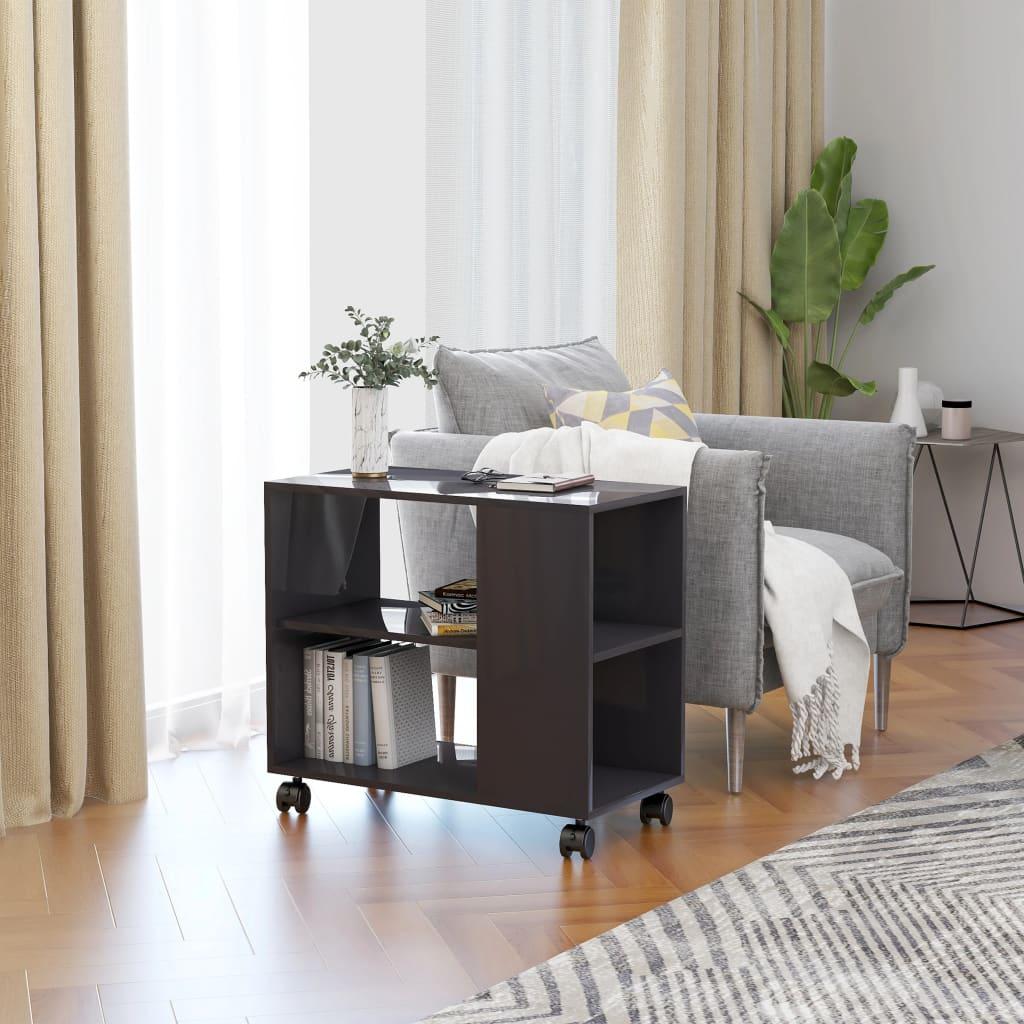 vidaXL Odkládací stolek šedý s vysokým leskem 70x35x55 cm dřevotříska