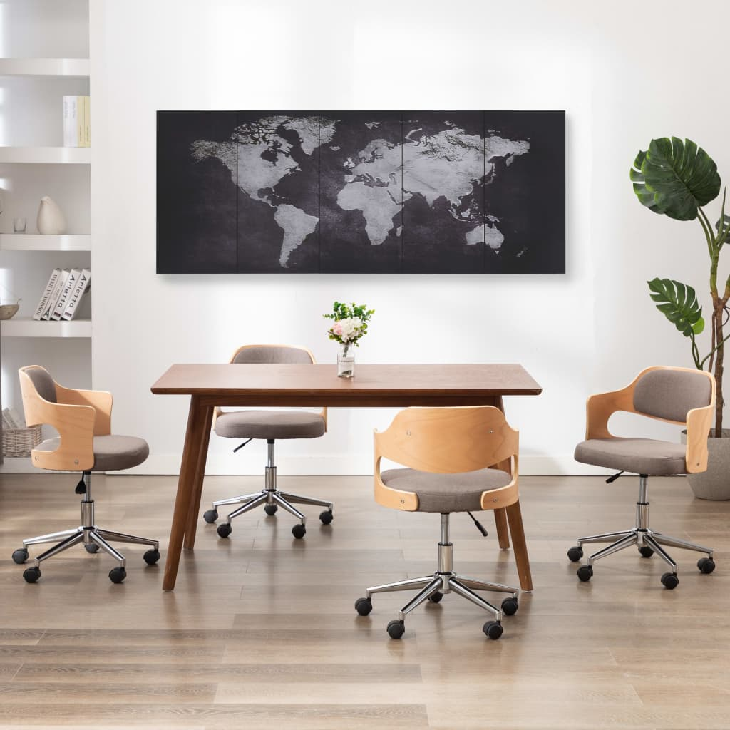 Sada nástěnných obrazů na plátně Mapa světa černá 200 x 80 cm