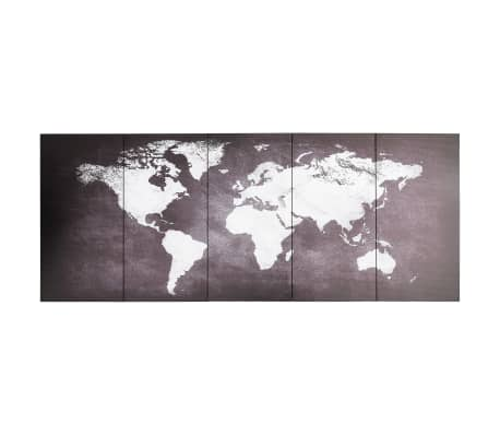 vidaXL Canvas Wall Print Set World Map Grey 150x60 cm