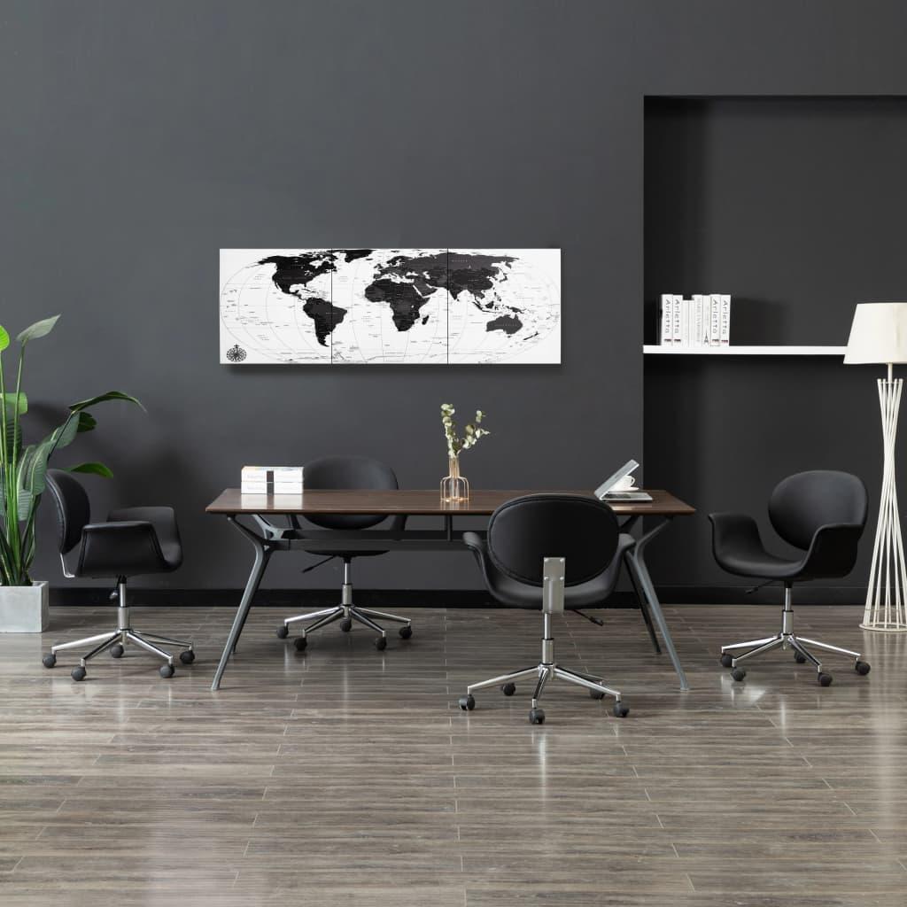 Sada nástěnných obrazů na plátně Mapa světa bílá 120 x 40 cm