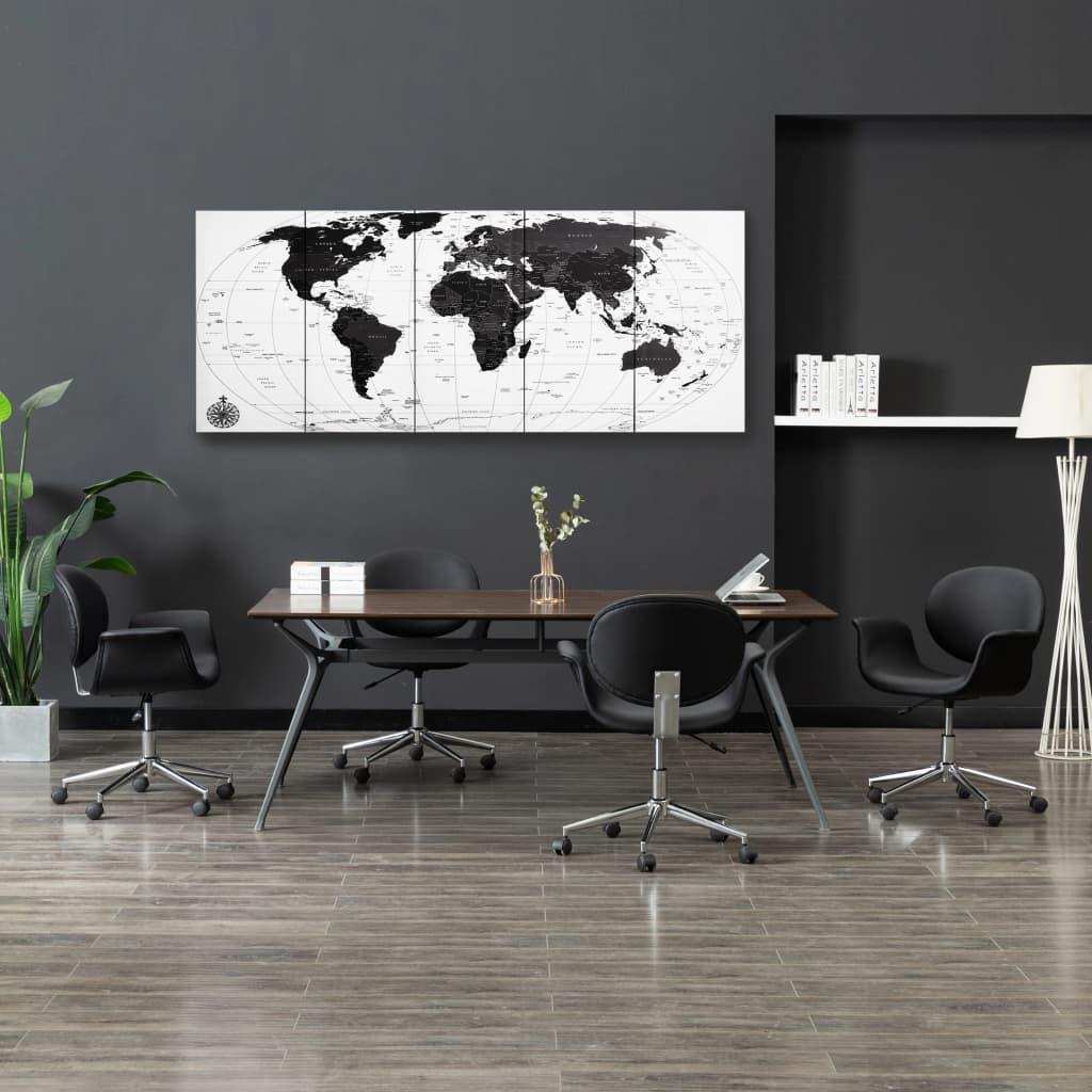 Sada nástěnných obrazů na plátně Mapa světa bílá 200 x 80 cm
