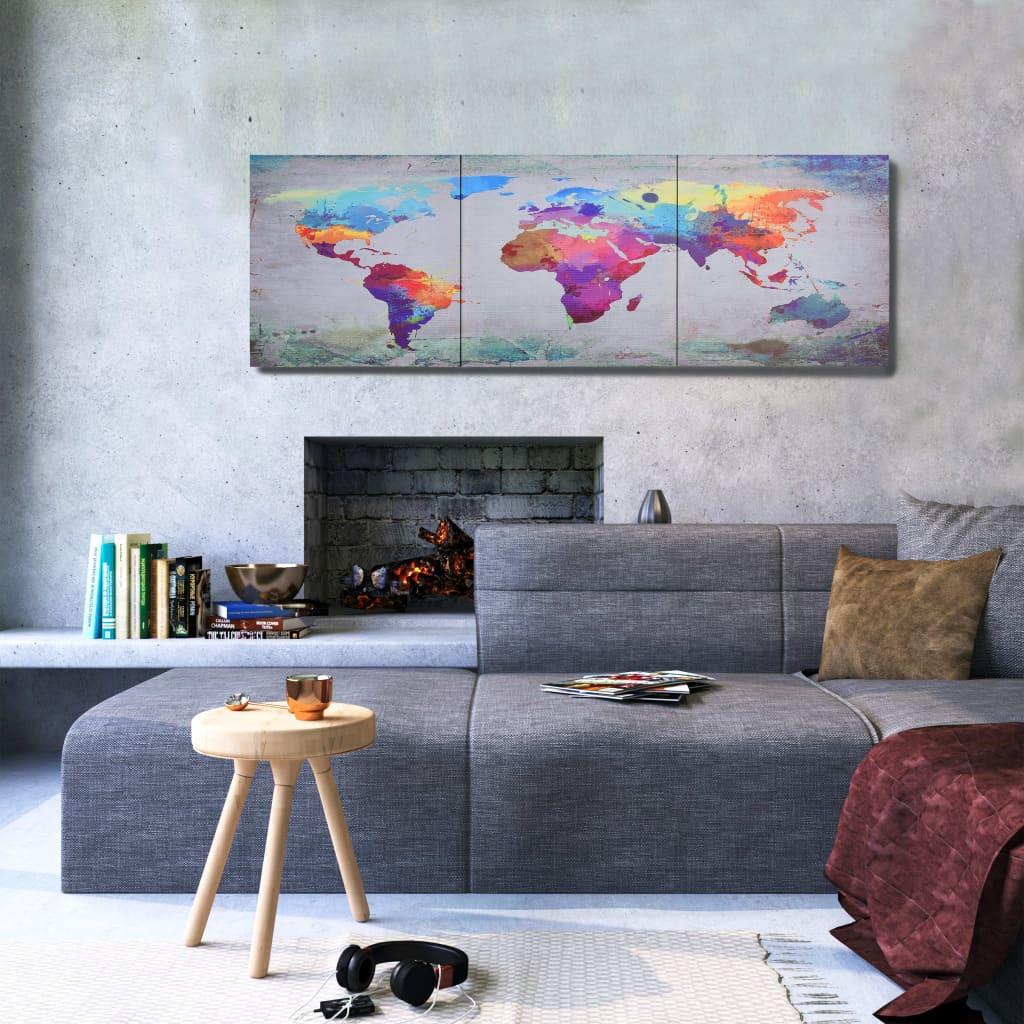 Sada nástěnných obrazů na plátně Mapa světa barevná 120 x 40 cm