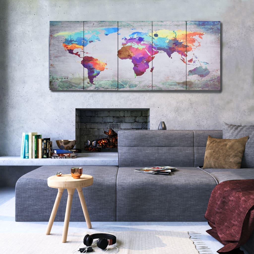 Sada nástěnných obrazů na plátně Mapa světa pestrá 150 x 60 cm