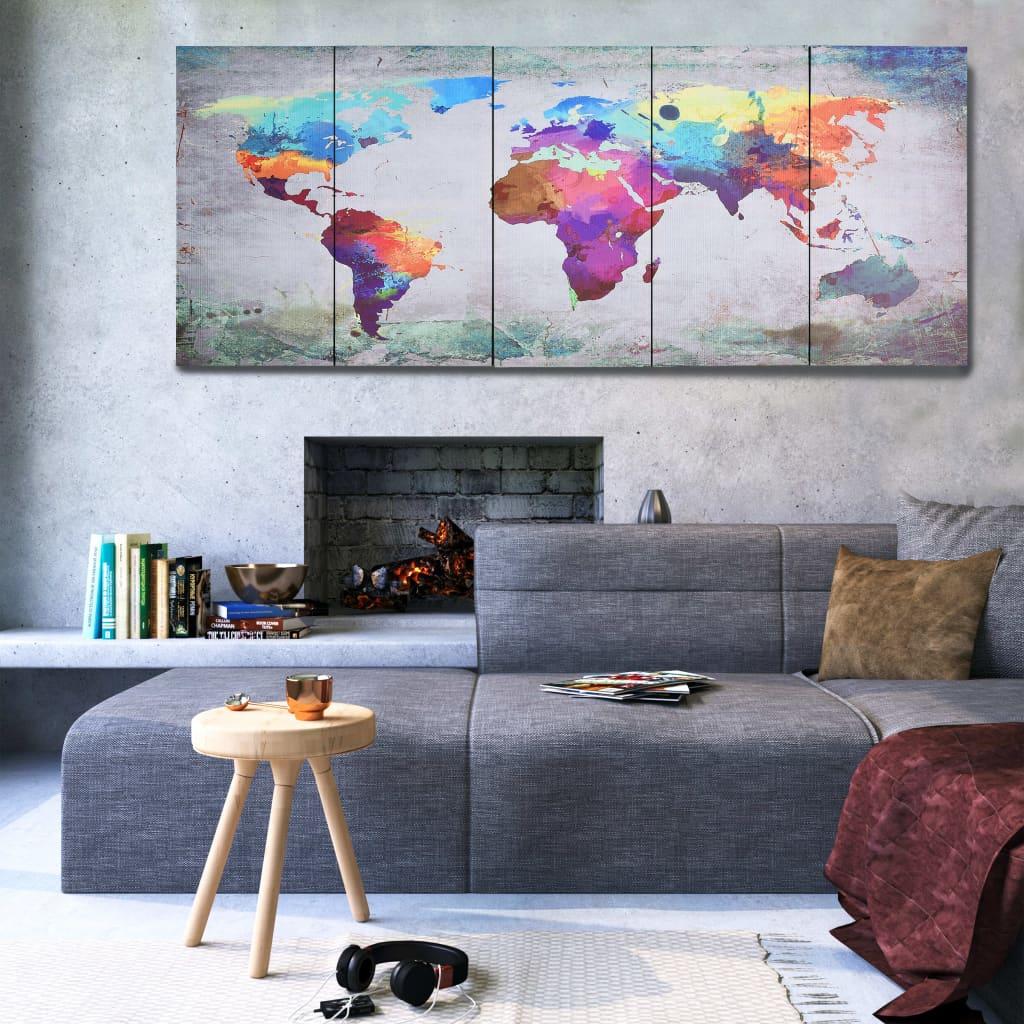 Sada nástěnných obrazu na plátně Mapa světa pestrá 200 x 80 cm