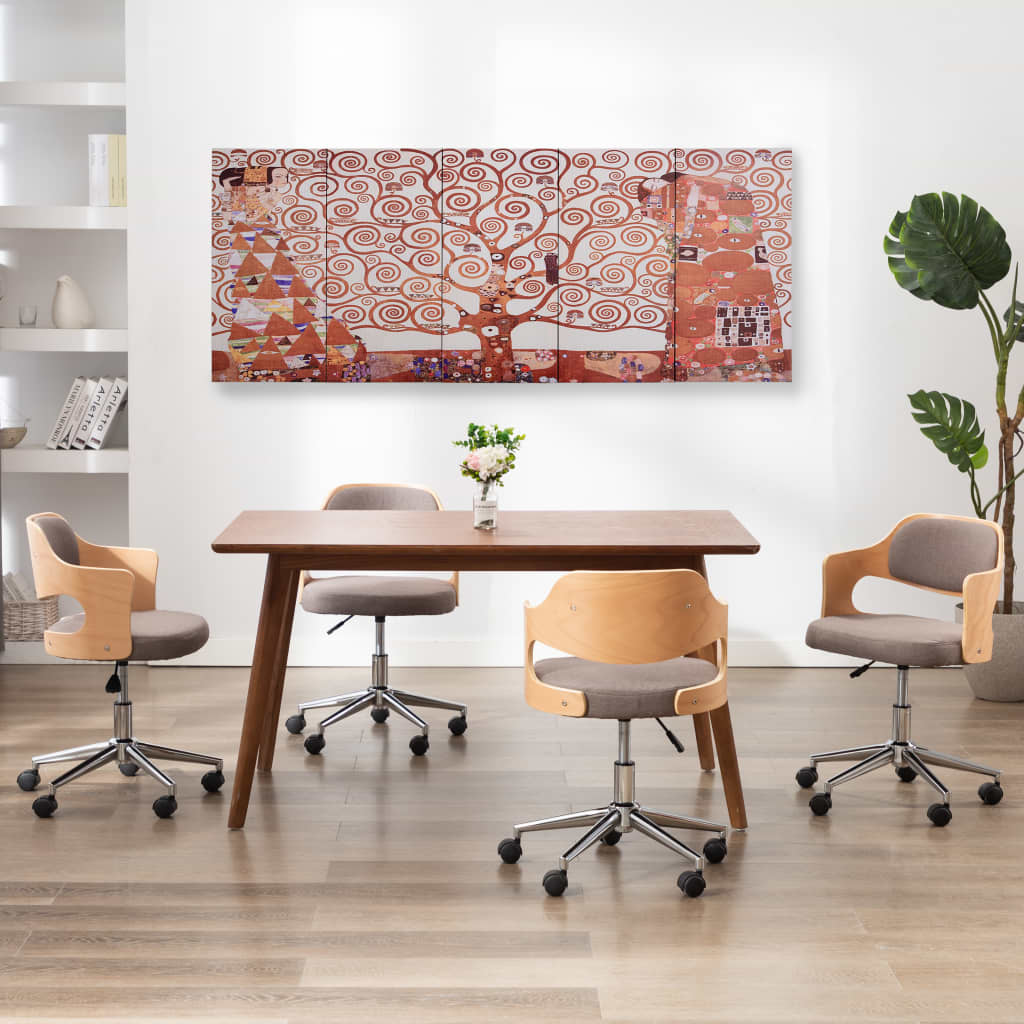 Sada nástěnných obrazů na plátně Strom žlutá 200 x 80 cm