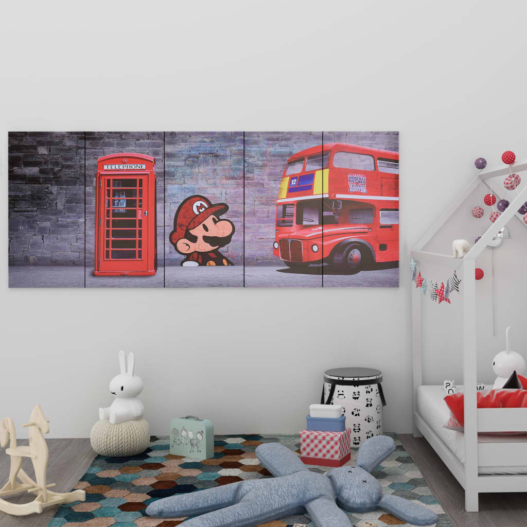 vidaXL Set tablouri din pânză, imprimeu Londra, multicolor, 200x80 cm imagine vidaxl.ro