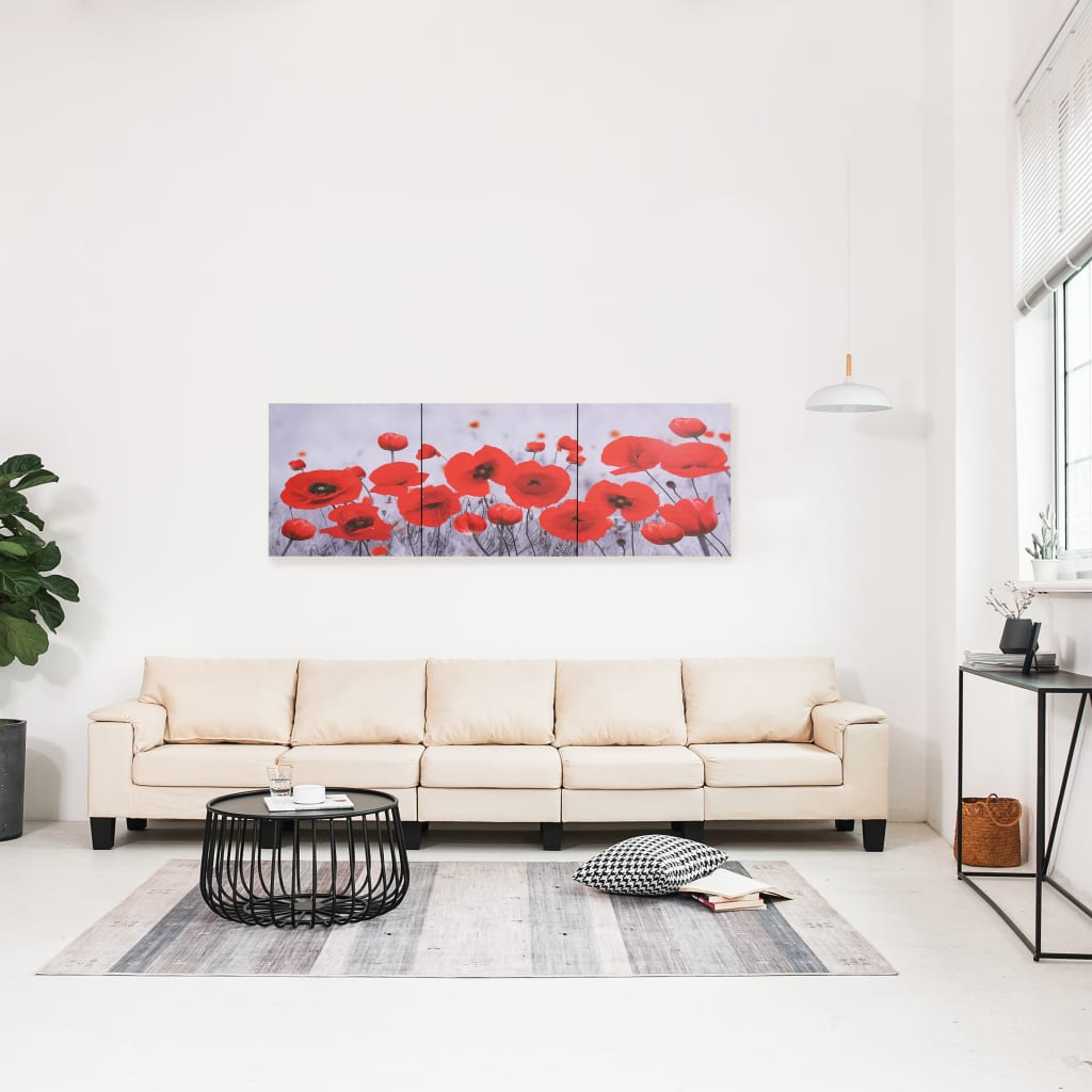 Sada nástěnných obrazů na plátně Květiny barevná 120 x 40 cm