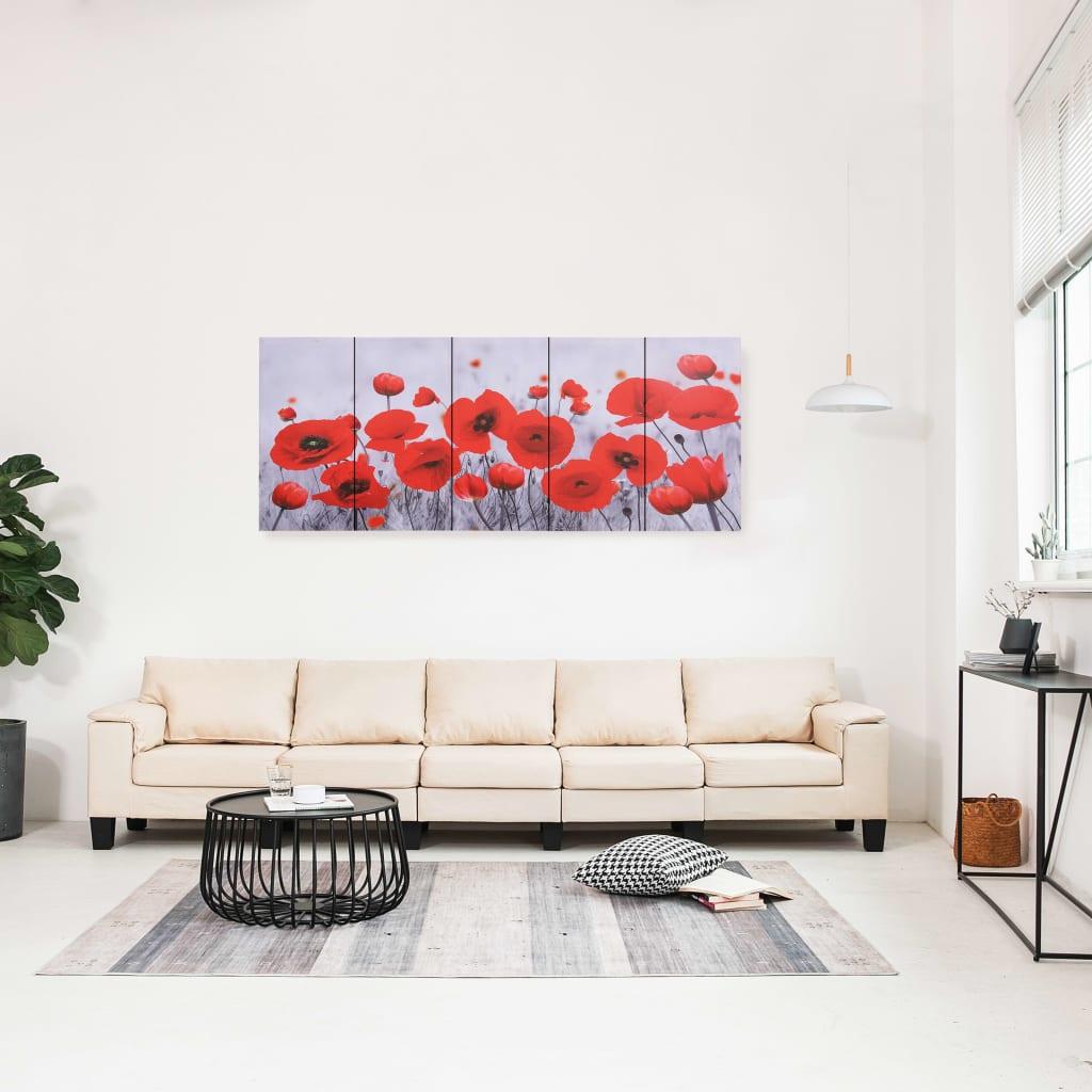 Sada nástěnných obrazů na plátně Květiny barevná 150 x 60 cm