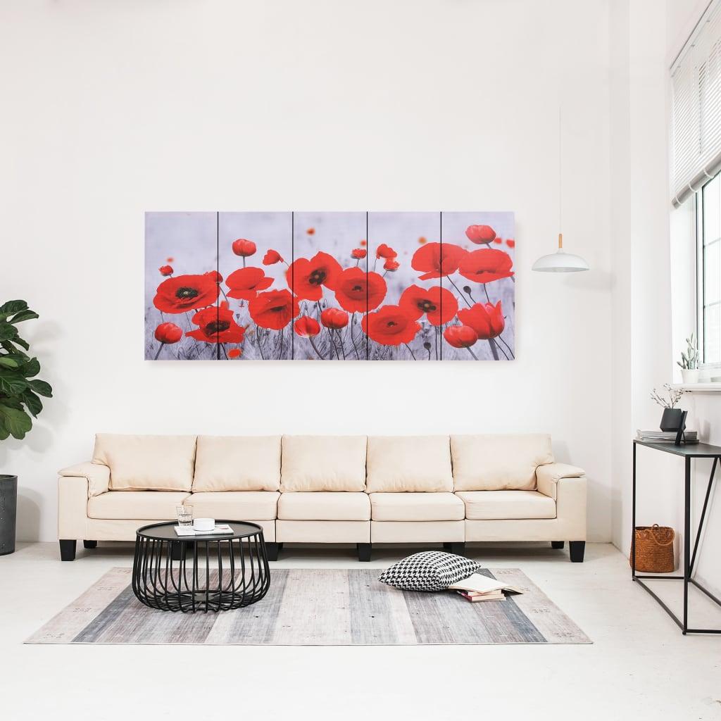 Sada nástěnných obrazů na plátně Květiny barevná 200 x 80 cm