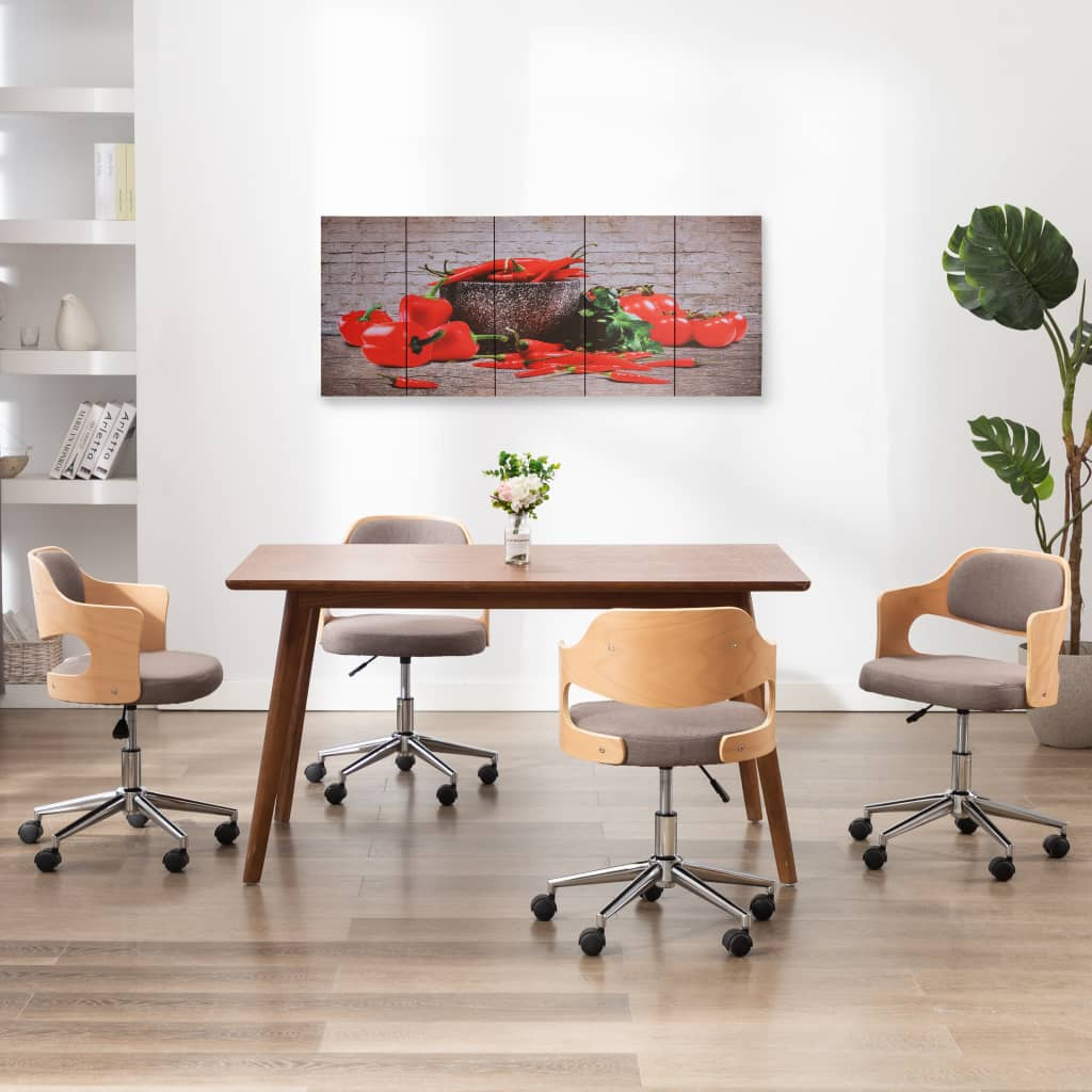 Sada nástěnných obrazů na plátně Paprika barevná 150 x 60 cm