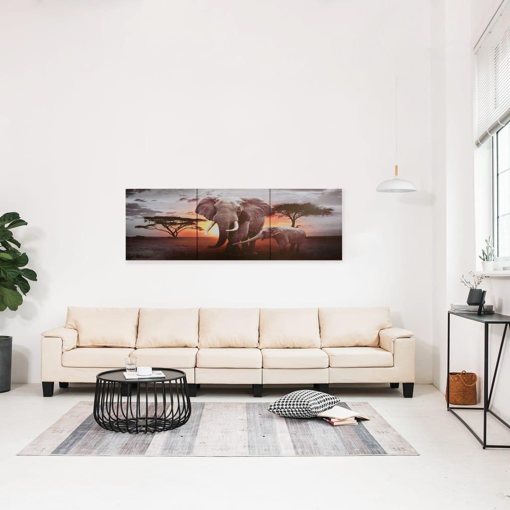 Sada nástěnných obrazů na plátně Sloni barevná 120 x 40 cm