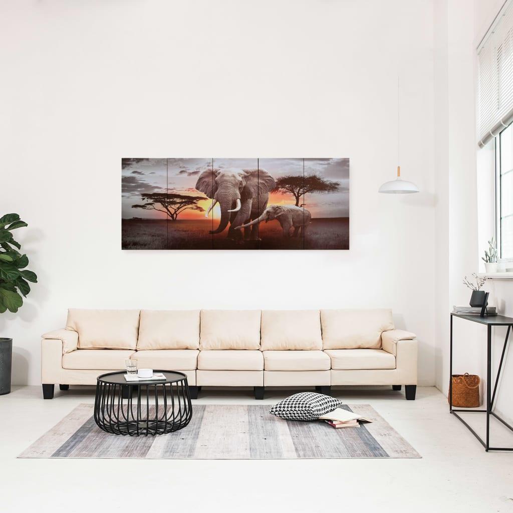 Sada nástěnných obrazů na plátně Sloni barevná 150 x 60 cm