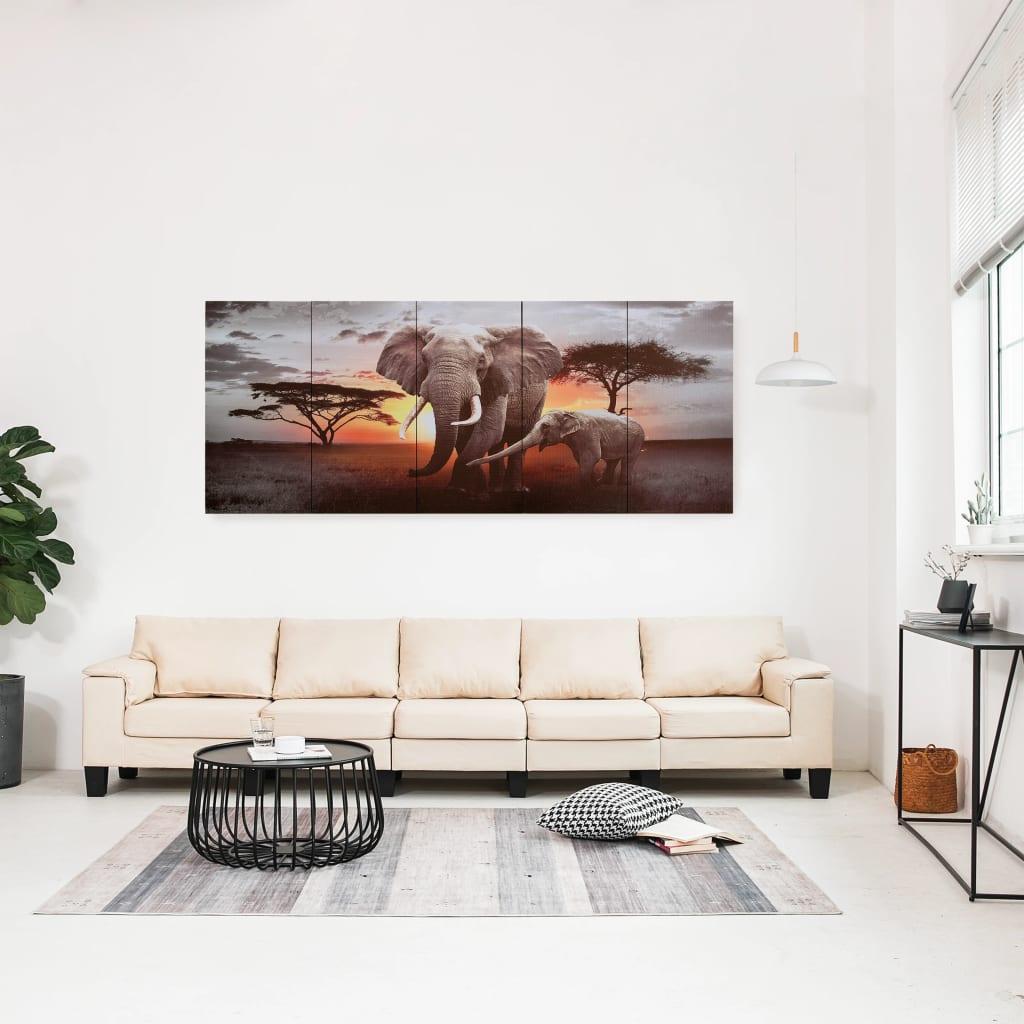 vidaXL Set tablouri din pânză, imprimeu elefant, multicolor, 200x80 cm poza vidaxl.ro