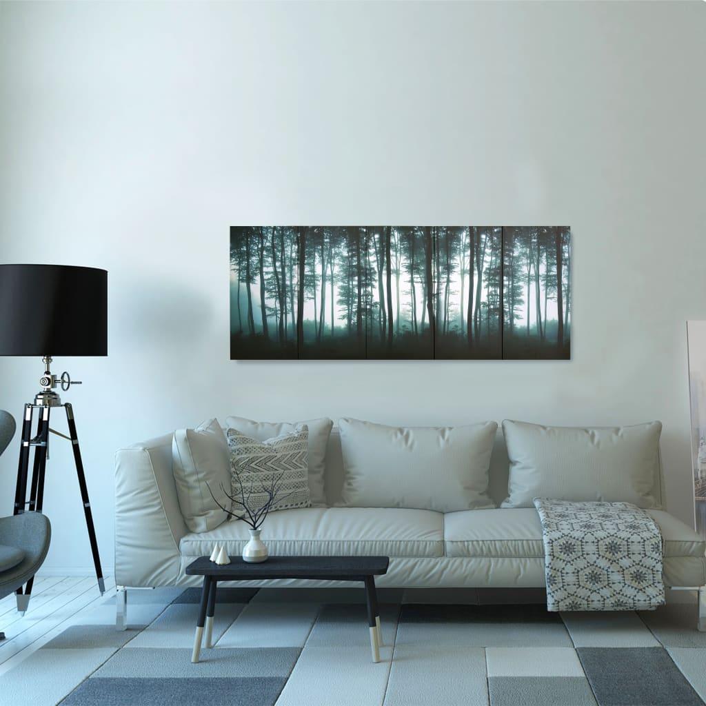 Sada nástěnných obrazů na plátně Stromy barevná 150 x 60 cm
