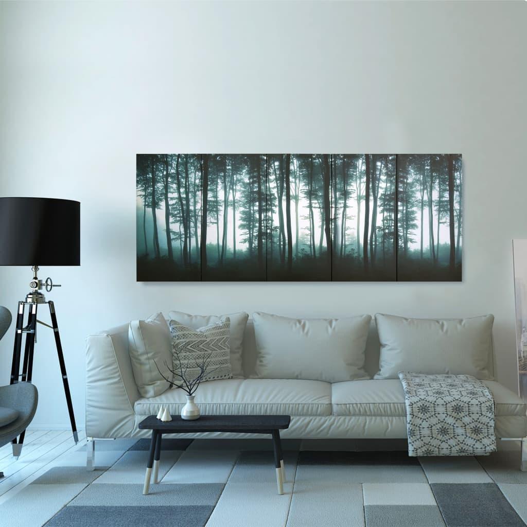 vidaXL Set tablouri din pânză, imprimeu copaci, multicolor, 200x80 cm imagine vidaxl.ro