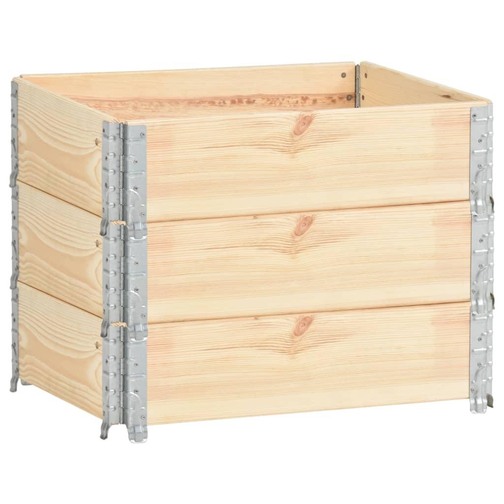 vidaXL Nadstawki paletowe, 3 szt., 60x80 cm, lite drewno sosnowe