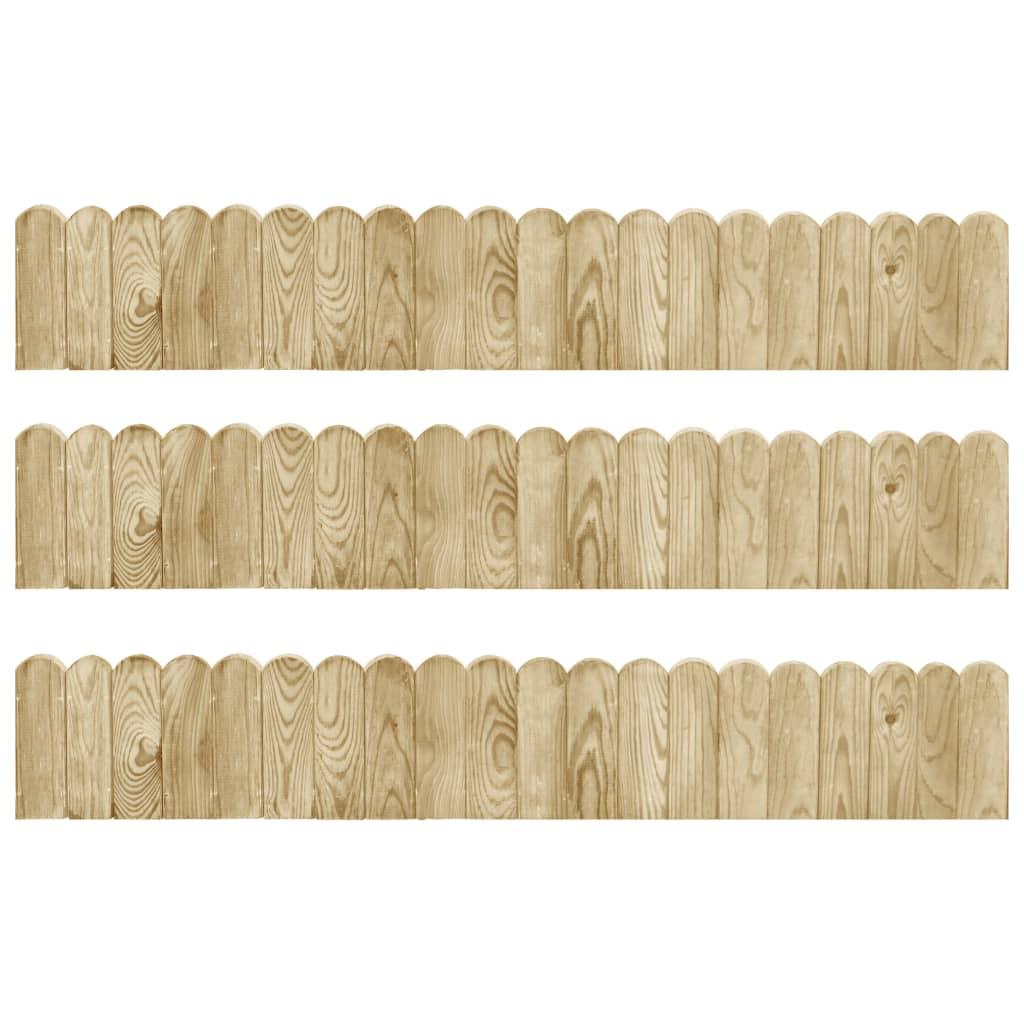 vidaXL Role de bordură, 3 buc., 120 cm, lemn de pin tratat imagine vidaxl.ro