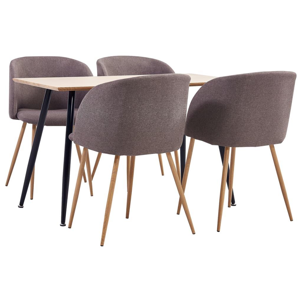 vidaXL Set mobilier de bucătărie, 5 piese, maro, material textil poza 2021 vidaXL
