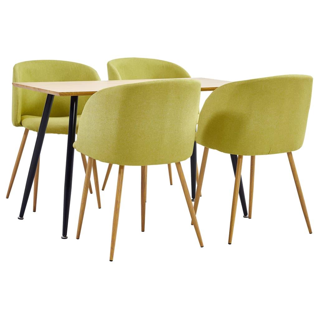 vidaXL Set mobilier de bucătărie, 5 piese, verde, material textil imagine vidaxl.ro