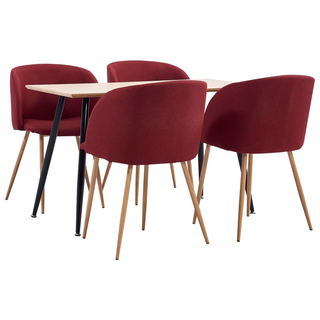 vidaXL Set mobilier de bucătărie, 5 piese, roșu vin, material textil poza 2021 vidaXL