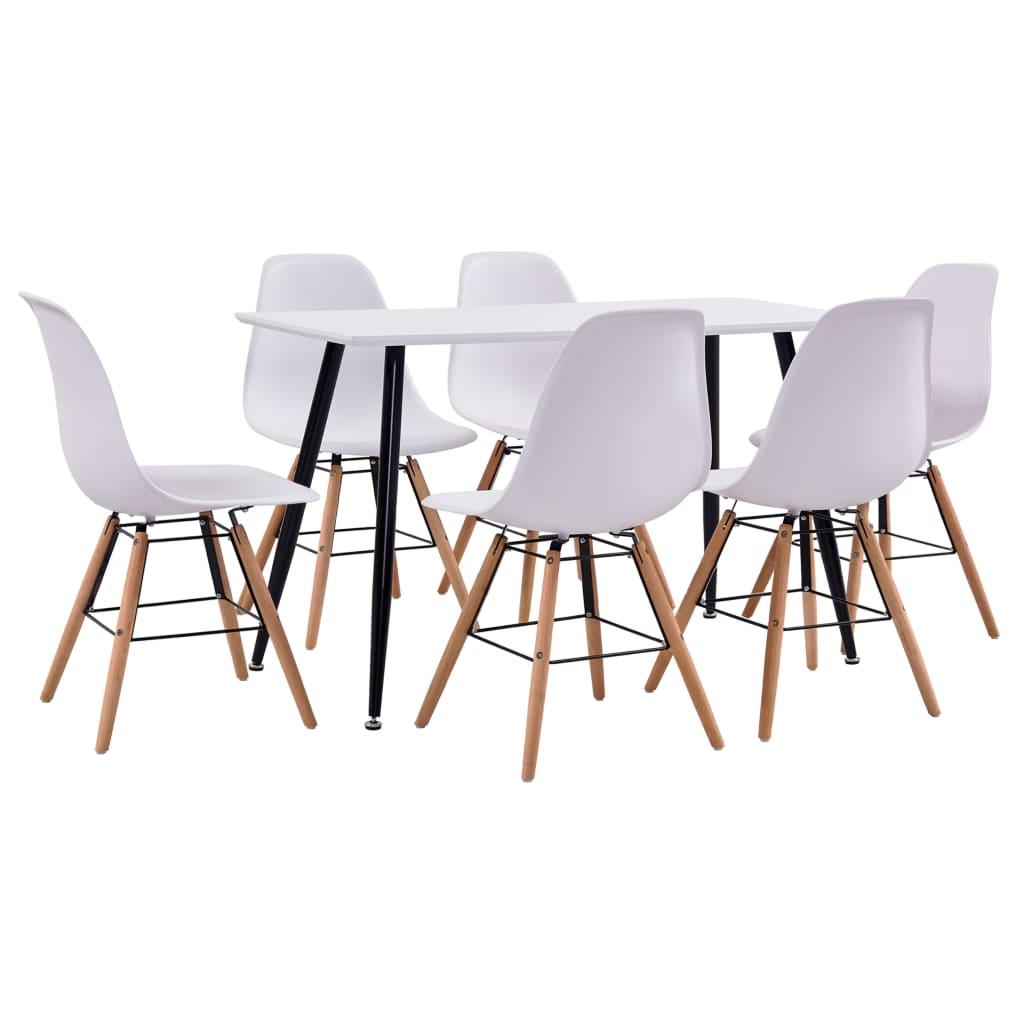 vidaXL Set de mobilier bucătărie, 7 piese, alb, material plastic vidaxl.ro
