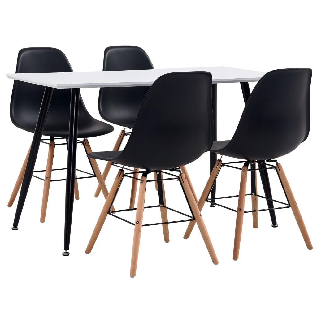 vidaXL Set de mobilier bucătărie, 5 piese, negru, material plastic imagine vidaxl.ro