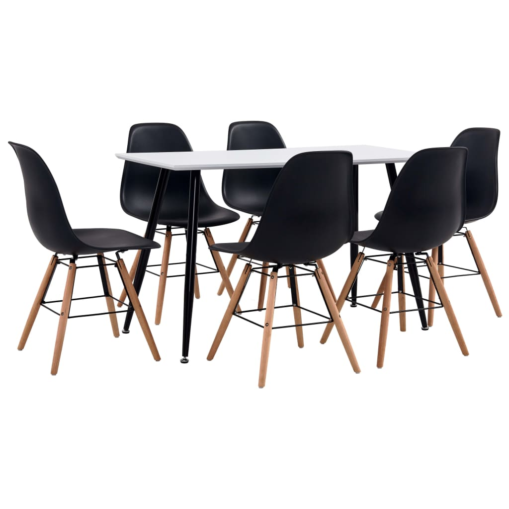 vidaXL Set de mobilier bucătărie, 7 piese, negru, material plastic vidaxl.ro