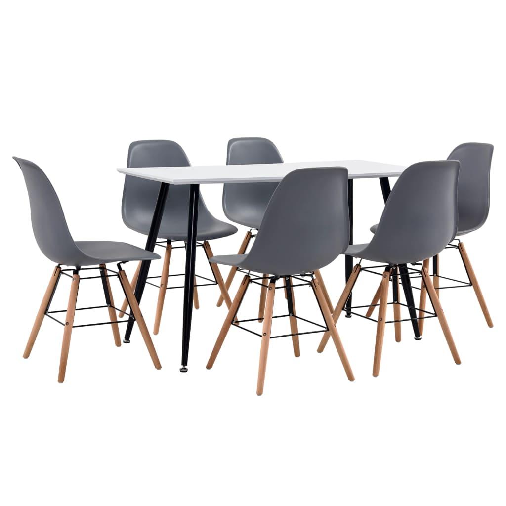 vidaXL Set de mobilier bucătărie, 7 piese, gri, material plastic vidaxl.ro