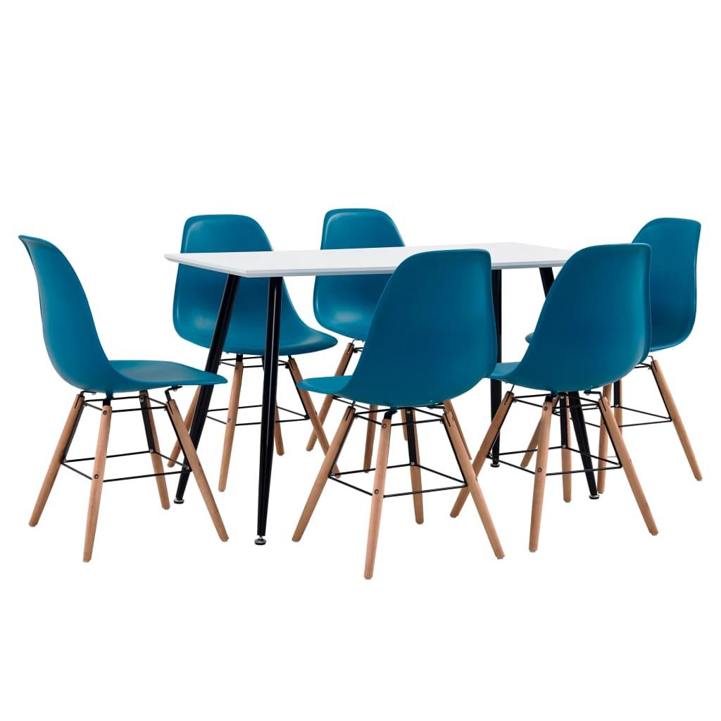 vidaXL Set de mobilier bucătărie, 7 piese, turcoaz, material plastic poza vidaxl.ro