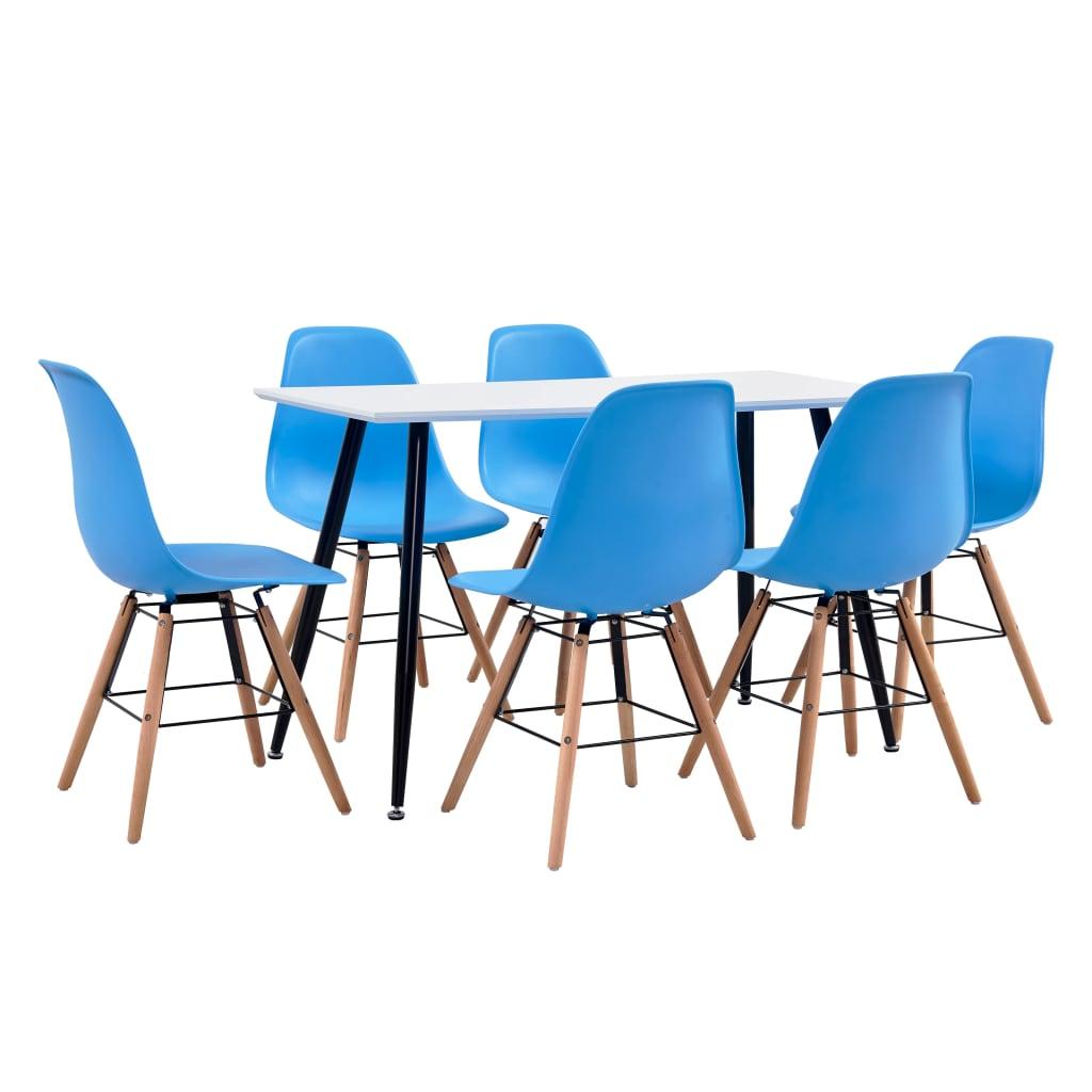 vidaXL Set de mobilier bucătărie, 7 piese, albastru, material plastic vidaxl.ro