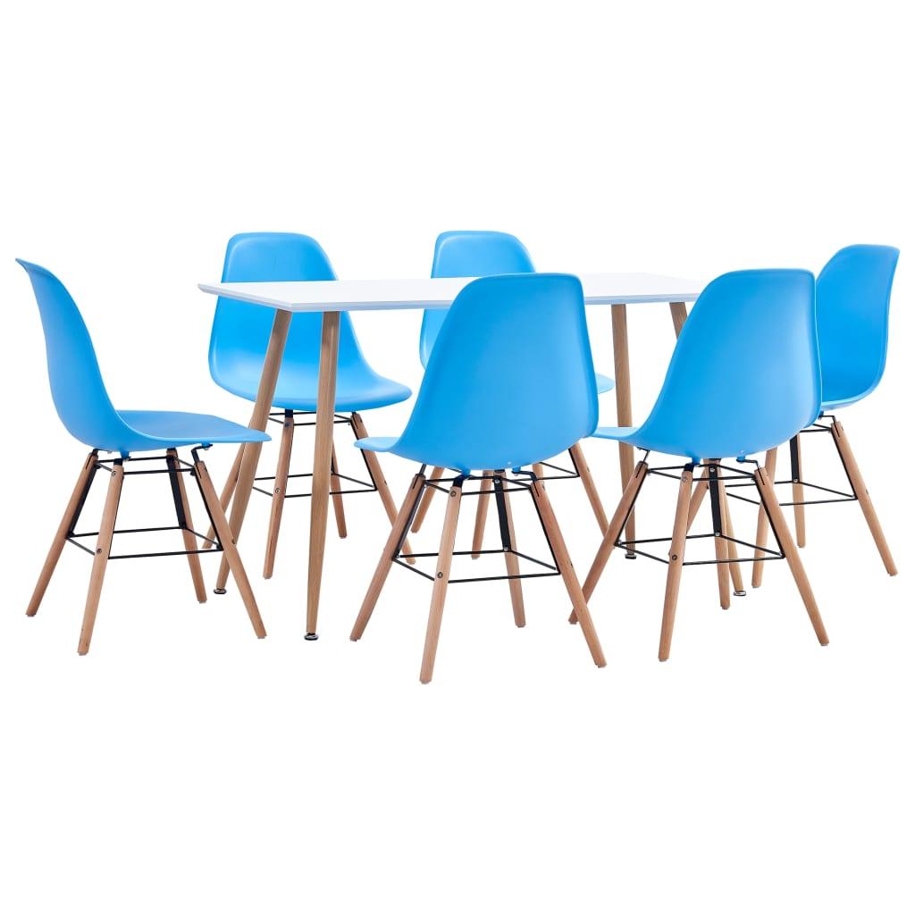 vidaXL 7-részes kék mûanyag étkezõgarnitúra
