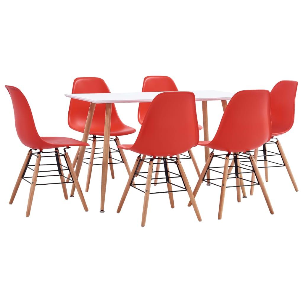 vidaXL 7-részes piros mûanyag étkezõgarnitúra