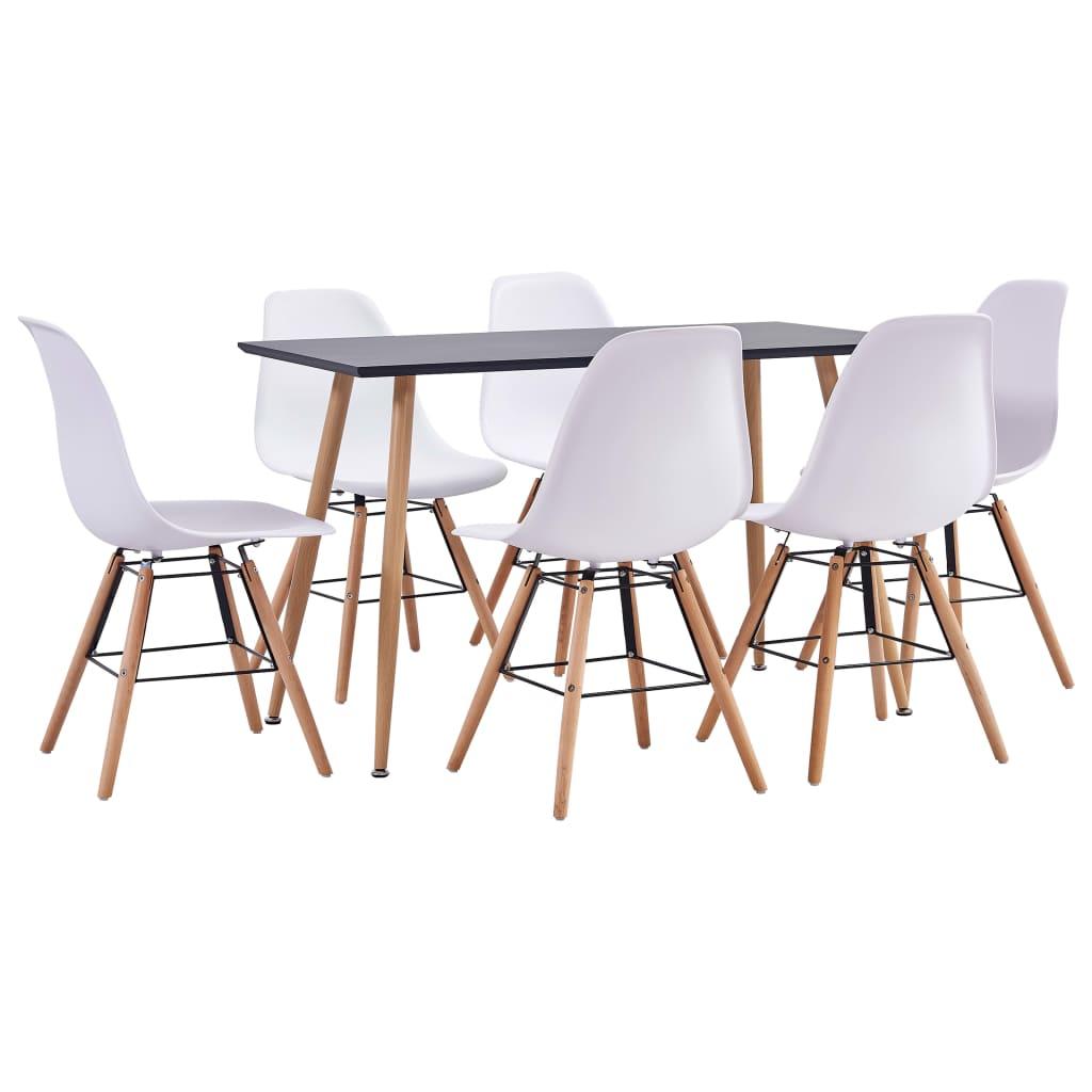 vidaXL Set mobilier de bucătărie, 7 piese, alb, plastic poza vidaxl.ro