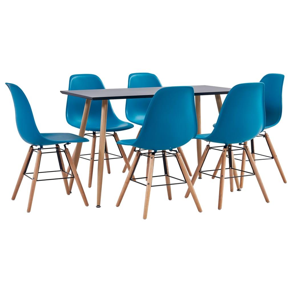 vidaXL Set mobilier de bucătărie, 7 piese, turcoaz, plastic imagine vidaxl.ro